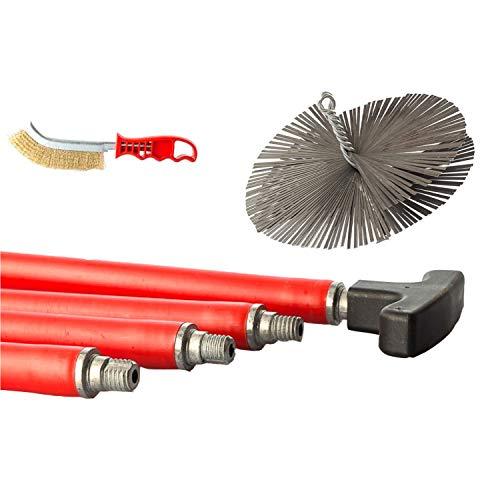 BARETTO Kit de limpieza de humero y chimeneas - 10 Varillas de 1 metro, Curvatura máxima de 45 ° - Cepillo de acero de 200mm - Limpieza Profunda