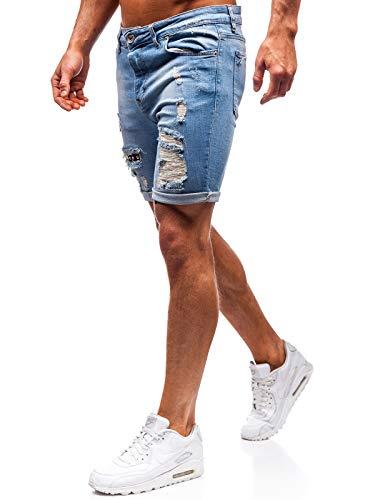 The Gangster Herren Hose Kurzehose Jeans Clubwear Denim Street Style täglicher Stil1061 Blau M [7G7]