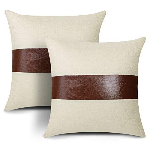 Artscope - Set di 2 federe decorative per cuscini, 45 x 45 cm, in finta pelle, con cuciture in lino, stile rustico moderno, quadrato, per divano, camera da letto, soggiorno (2 rosso)