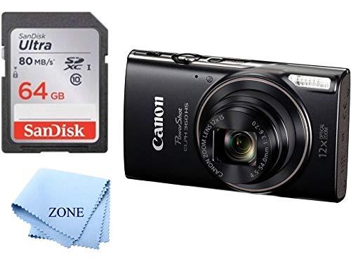 Canon PowerShot ELPH 360 HS Digital Camera Balck + 64GB SD Memroy Card