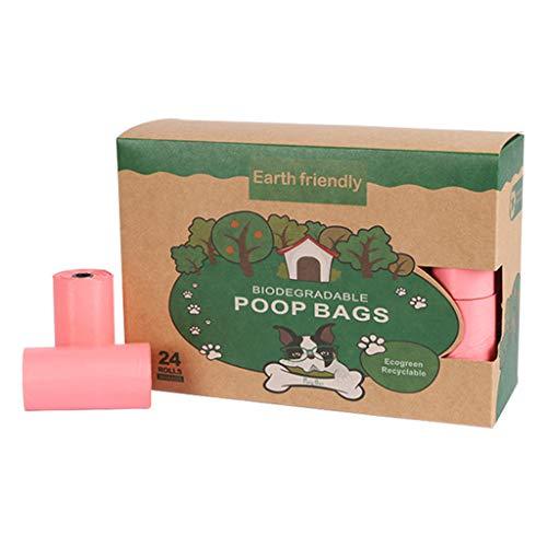 CHIHUOBANG - Bolsas para perros biodegradables, gruesas y fuertes, dispensador de bolsas para caca, a prueba de fugas, sin perfume para perros y cacas, 4 rollos/8 rollos/24 rollos