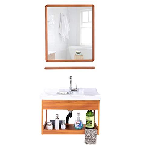 Ausgussbecken Waschbecken Badezimmer-Spiegel Lagerschrank Kombination Keramik-Waschbecken Wandschrank Wandbodensäule warm und kalte Wasser-Hahn-Wannen (Color : A, Size : 60 * 47cm)