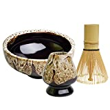 Matcha Bowl+Matcha Bamboo Whisk Tool+ Whisk Stand Matcha Ceremony Starter Kit fit for Traditional Japanese Tea Ceremony (White)