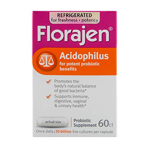 Florajen Acidophilus High Potency Refrigerated Probiotics   Supports Overall Health   20 Billion CFUs   for Potent Probiotic Benefits   60 Capsules