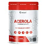 Wish Pharmaceutical Acerola Natural Vitamina C Paquete de 1 x 500g Antioxidante Sistema Inmune Sin Azúcar 1000 porciones Vege No GMO Polvo