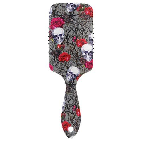 Cepillo de pelo BGIFT con diseño de calavera de azúcar, flores y rosas, de nailon suave, para masaje y aire, antiestático, para hombres y mujeres, cabello mojado, rizado y dañado