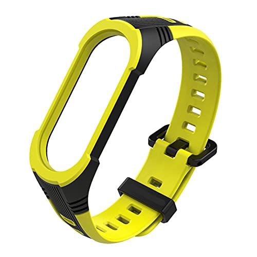 Pulsera para la banda MI 5 MI Banda 4/3 Reemplazo de correa, pulsera de silicona suave Muñeca Accesorios de banda de reloj para Xiaomi MI Banda 4 (Color : 02 Black Yellow, Size : For Mi Band 4)