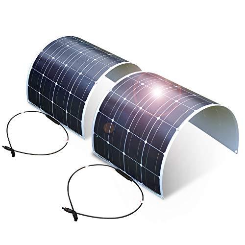 Dokio Juego de 2 piezas de panel solar de 100 W 12 V 24 V monocristalino flexible impermeable para furgoneta, autocaravana, caravana, barco, cabina, remolque, caravana, coche