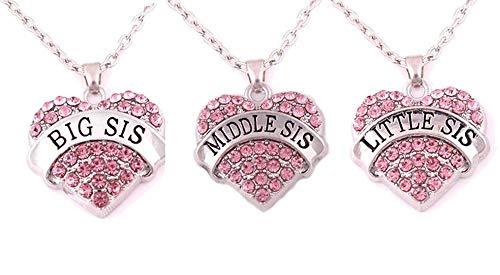 Charm.L Grace Matching Necklaces Set, pink-3pcs
