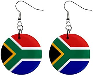 South Africa Flag Button Earrings