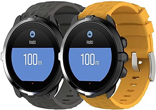 Gransho Bracelete compatível com Suunto 9 / 7 / D5i / TRAVERSE / Spartan Sport Wrist HR Baro Bracelete Para Relógio, Bracelete Ajustável de Reposição Bracelete desportiva de Silicone (Pattern 2+Pattern 6)