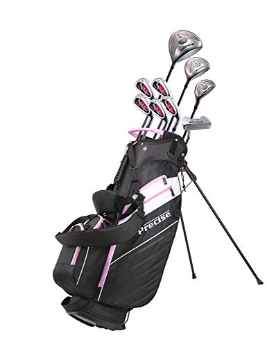 Precise AMG Ladies Womens Complete Golf Clubs Set Includes Driver, Fairway, Hybrid, 6-PW Irons, Putter, Stand Bag, 3 H/C