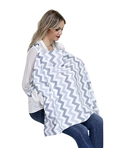 Roseanne Stilltuch - unterwegs entspannt stillen - mit Kissen für Baby | Stillschal | diskretes Stillen in der Öffentlichkeit | Stillcover (Grau-Weiß)