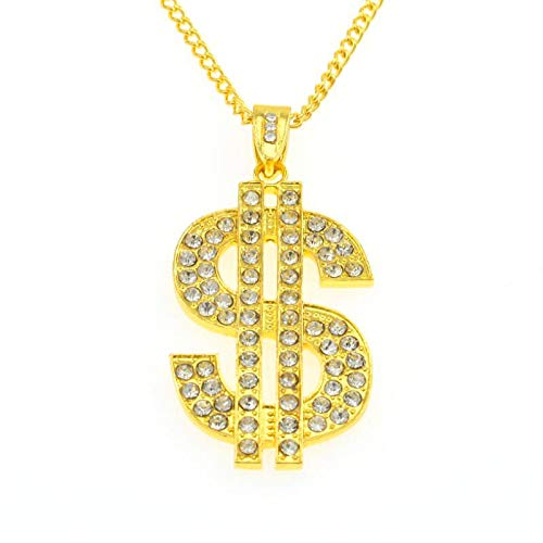 thematys Dollar Zeichen Kette in Gold Pimp Kostüm Rapper Goldkette für Erwachsene - perfekt für Fasching, Karneval & Cosplay - Damen Herren