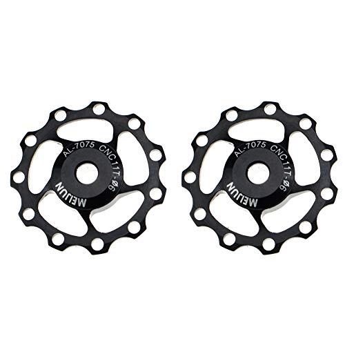 FOMTOR 11T Jockey Wheel 2 Pack de polea de cambio trasero de aluminio para Shimano Sram (negro)