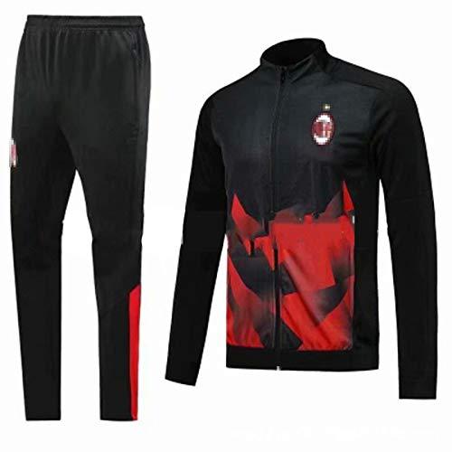 QGGQ Fußballtraining Anzug Milǎn Jersey Erscheinungsbild Jersey Langarm Trainingsanzüge Herren Sweatshirt Top Hose, Outdoor Sport täglich Leben Spleißen Fan Geschenk M