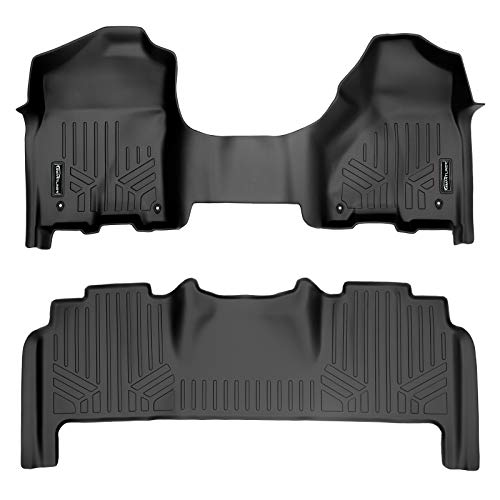 MAXLINER Floor Mats 2 Row Liner Set Black for 2012-2018 Dodge Ram 2500/3500 Mega Cab