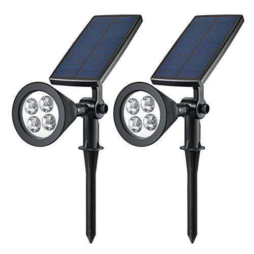 AMIR Solar Lights, 270° Adjustable Solar LED Outdoor Spotlight, Solar Garden Lights, Super Bright 200 Lumens Wall Lights, Outdoor Landscape Waterproof Security Night Lights (2 Pack White)