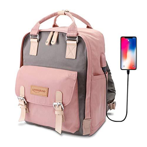 Keenstone Rucksack Damen Schulrucksack Mädchen Teenager Daypack mit USB Ladeanschluss Laptop Rucksack Frauen für 14 Zoll Laptop Multifunktionsrucksack Nylon Tagesrucksack für Universität Schule Reisen