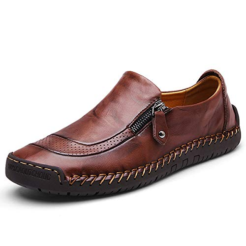 gracosy Slip-On Shoes, Men's Leather Hand Stitching Zipper Non-Slip Oxford Casual Leather Loafers Driving Walking Shoes Black 13 M US