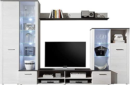 Moderno elegante elegante estilo de la pared de la pared de la pared, incluyendo la luz LED, el gabinete de televisión, 1 marco de pared y 1 gabinete de exhibición pequeña,Grey