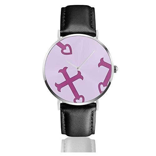 Armbanduhr Quarzuhr Erza Pyjamas Freizeituhren mit schwarzer Lederuhr