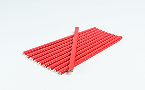 Zimmermanns-Bleistifte │ rot │ 10 Stück │ oval │ 250 mm lang, Strichbreite 1-2 mm │ für Industrie und Handwerk │ Bleistift │ Baubleistift │ Zimmererbleistift │ by FD-Workstuff