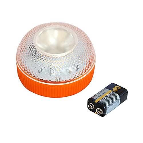 GirarYou Luces de Advertencia de Emergencia V16 Homologadas DGT Lámpara Señales Luminosas Multifuncional Luz de Seguridad Luz LED de Emergencia para Coche Vehículos Carretera,Naranja (1pcs, con Bat)