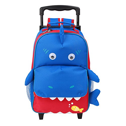 Yodo Zoo 3-Way Toddler Backpack with Wheels or Little Kids Rolling Luggage, with Front Pouch and Side Bottle Holders, for toddler boys and girls, Shark