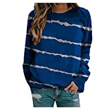 KHIIen Women Casual Crewneck Sweatshirt Striped Long Sleeve Shirt Loose Fitting Pullover Tunic Blouse Tops