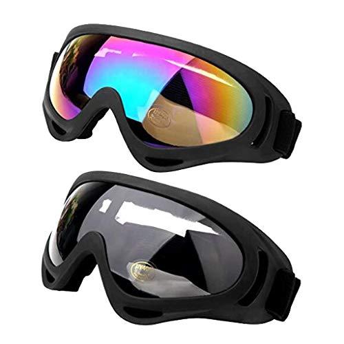 Luomio 2 Stück Motorrad-Schutzbrille, Motocross, MTB, ATV, Dirtbike, Geländefahrrad, Rennbrille, Scooter, Fahrrad, Piloten, Piloten, Sportroller, Helm für Harley (2 Stück)
