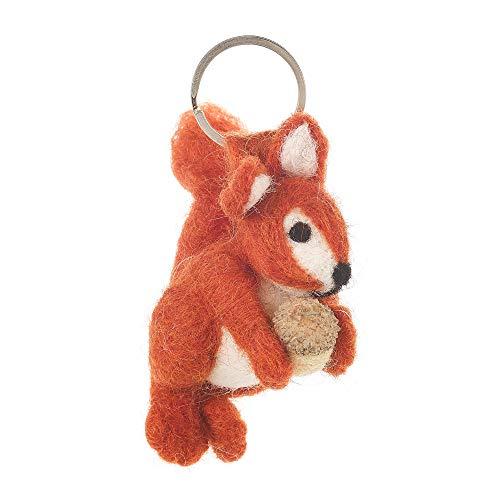 Handgefertigter Fair-Trade-Schlüsselanhänger aus Filz, Eichhörnchen-Motiv