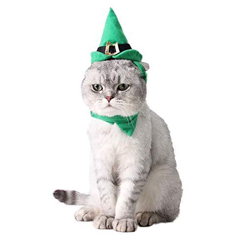 PEDOMUS Disfraz de Gato Elfo de Navidad Sombrero Verde y Collar...