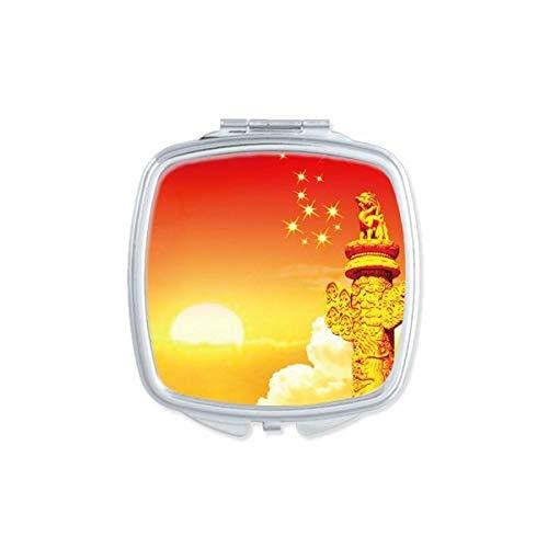 DIYthinker Sun Star Ornamental Columna Cuadrada Bandera Espejo de Maquillaje Compacto Portátil de Mano Linda de Bolsillo Regalo Espejos