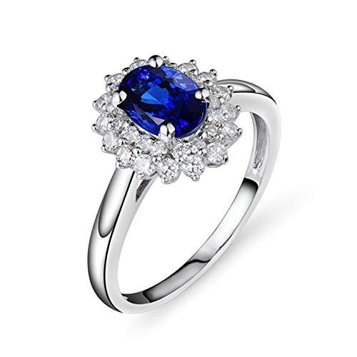 AnazoZ Anillo Mujer Plata Tanzanita,Anillos Mujer Compromiso Oro Blanco 18 Kilates Plata Azul Flor con Oval Tanzanita Azul 0.9ct Diamante 0.45ct Talla 26