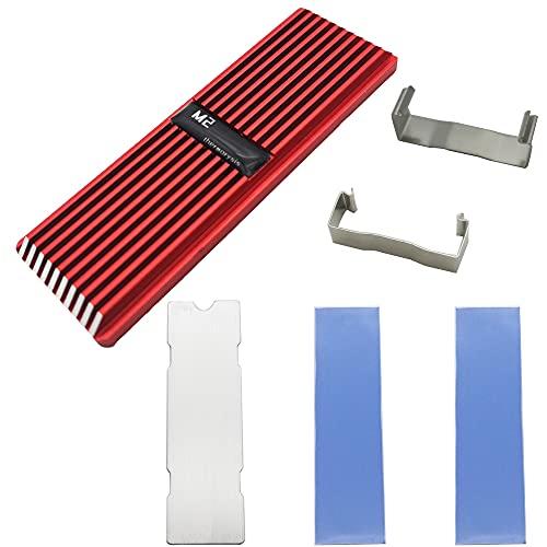 CTRICALVER Disipador M.2, Aluminio Disipador con Almohadilla de Gel de sílice termoconductora para M.2 2280 SSD (Rojo)