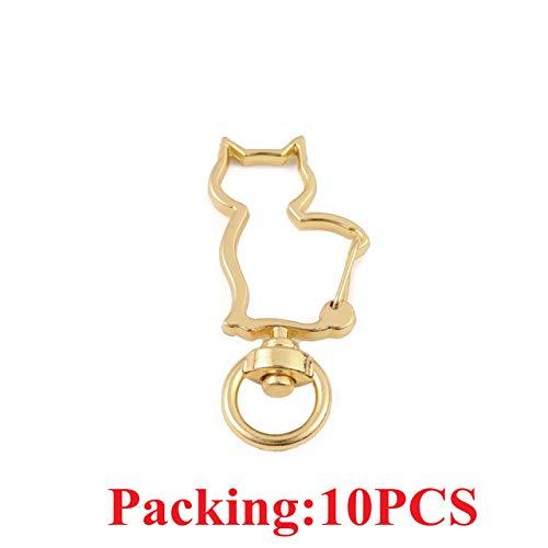 HUANGSAN 5-20 Stück/Los Schlüsselanhänger Ring Schlüsselbund Bronze Rhodium Gold 28mm Lange runde Geteilte Schlüsselringe Schlüsselbund Schmuckherstellung DIY, 10PCS Kc Gold Katze