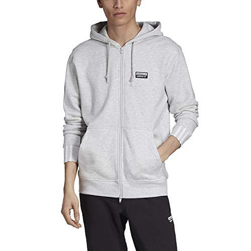 adidas Essentials - Sudadera con capucha para hombre, 3 rayas, color gris, talla grande