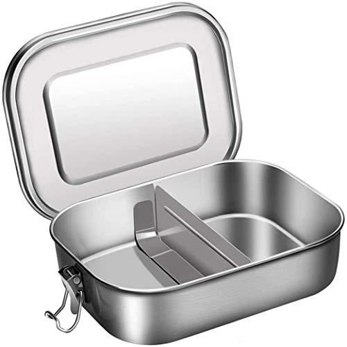 Aiskki Lunchbox In Acciaio Inox 1400 ml, Salvagoccia Con Divisorio Estraibile,Eco Bento Box In Metallo, Facile Da Pulire, Resistente Al Calore, Grande