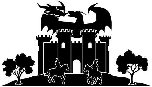 Wandtattoo Skyline Ritterburg Burg Ritter XXL Text Stadt Wand Aufkleber Wandsticker Wandaufkleber Deko sticker Wohnzimmer Autoaufkleber 1M602, Skyline Größe:Länge 160cm