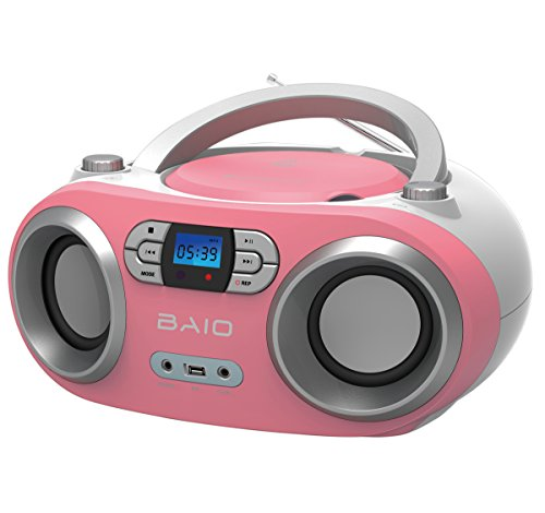 OUTMARK BAIO TRAGBARER CD-Radio-Bluetooth-Player | USB | AUX-IN | MP3 | Fernbedienung | LCD-Display Blaue Beleuchtung | FM-Radio | KOPFHÖRERANSCHLUSS | 2 x 1,5W RMS | Boombox | (PINK)