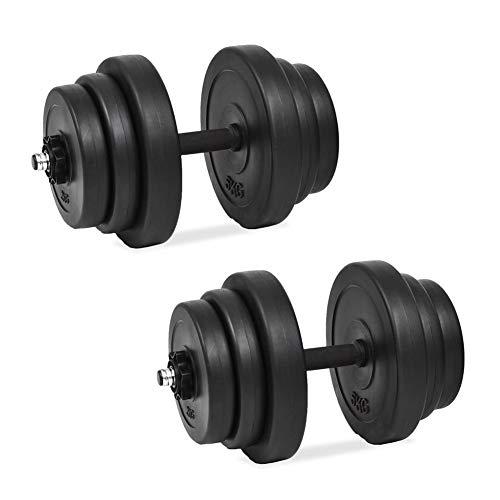 Juego de mancuernas de 40 kg, 18 mancuernas ajustables Juego de pesas para gimnasio peso Fitness equipo de ejercicio para levantamiento de pesas Fitness
