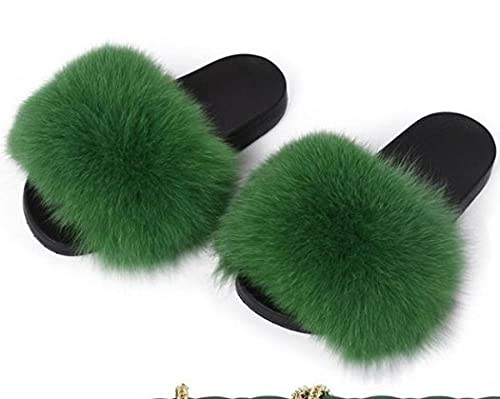 COQUI Zapatillas de Corcho,Nuevas Zapatillas para Padres y niños Zapatillas para niños Summer Cuero Cuero Hierba Pelo Cremallera-Verde_28-29