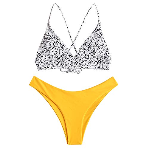 ZAFUL Women Braided Straps Lace Up Bikini Set Bralette Swimsuit Flower Bathing Suit (Dalmatian Dot-Yellow, M)