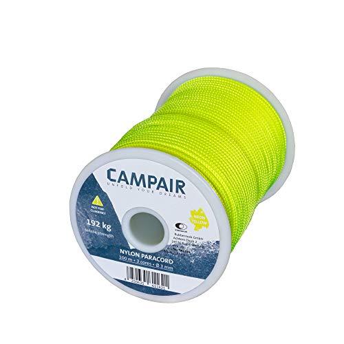 CampAir Allzweckseil 100m Spule Nylon Paracord 425 Type II 3mm Abspannseil, Reepschnüre für Camping, Outdoor, Biwak, Garten, Hundeleine, Wäscheleine, Armband, Basteln, Heimwerken, Hängematte, Zelten