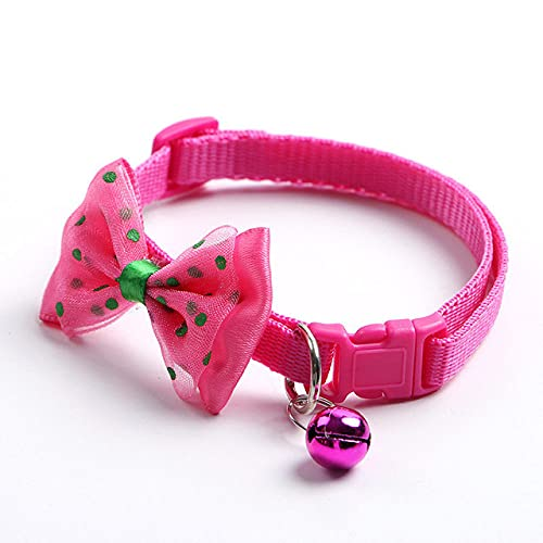 Collar para Gato con Campana Lovely Bow Cat Collar para Perro Correa para el Cuello Hebilla Ajustable Gatito Cachorro Accesorios para Animales domésticos, Rosa Rojo