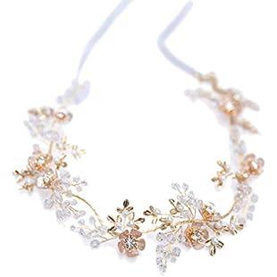 Frcolor Bridal Hairband with Ribbon Leaf Flower Rhinestone Headband Wedding Bride Headpiece Crystal Headwear:Kisaran
