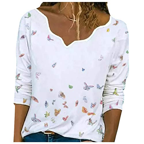 T-Shirt Damen V Ausschnitt Langarm Bluse Oberteil Sommer Casual Print Pullover Shirt Einfarbig Elegant Tuniken Tops Langarmshirt