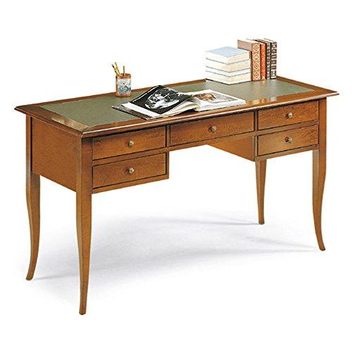 Giò Luxury Scrivania Con Piano In Ecopelle, Stile Classico, In Legno Massello E Mdf Con Rifinitura In Noce Lucido - Mis. 150 X 65 X 81