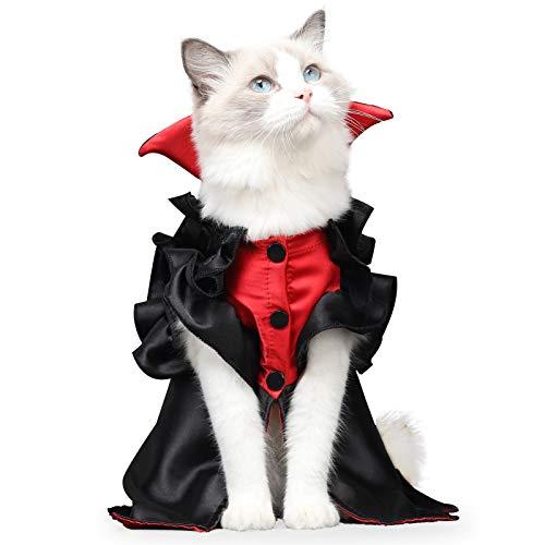 Disfraz de mascota de Halloween, vestido de vampiro para mascotas, disfraces de Halloween, accesorios divertidos, para gatos y perros, vestido de fiesta (M, negro)